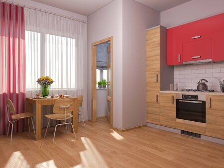 minimalist style: 3D render of interior design kitchen in a studio apartment in a modern minimalist style. The illustration shows a corner kitchen in red and wooden color fasades and table near a window