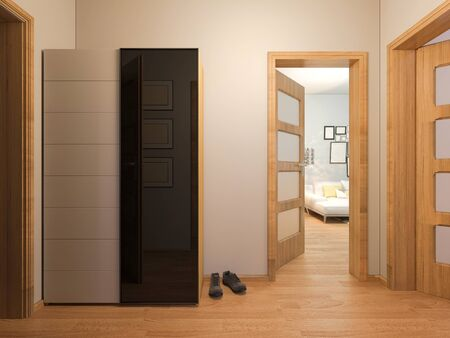 condo: 3D render of interior design entrance hall in a studio apartment in a modern minimalist style. The illustration depicts an open door into the room, entrance hall with wardrobe Stock Photo