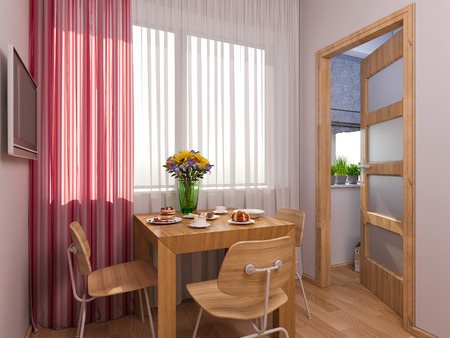 modern interior: 3D render of interior design kitchen in a studio apartment in a modern minimalist style. The illustration shows a table near a window and a small storage room