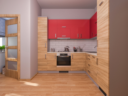 kitchen studio: 3D render of interior design kitchen in a studio apartment in a modern minimalist style. The illustration shows a corner kitchen in red and wooden color fasades Stock Photo