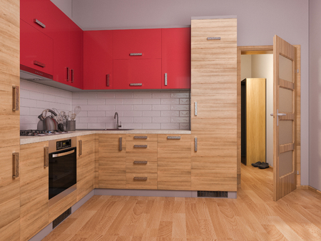 kitchen studio: 3D render of interior design kitchen in a studio apartment in a modern minimalist style. The illustration shows a corner kitchen in red and wooden color fasades with open door into room Stock Photo
