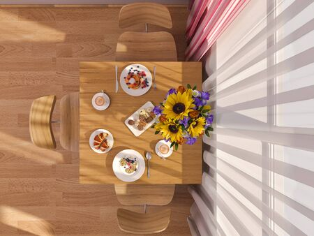 kitchen studio: 3D render of interior design kitchen in a studio apartment in a modern minimalist style. The illustration shows a table near a window with flowers and breakfast in top view