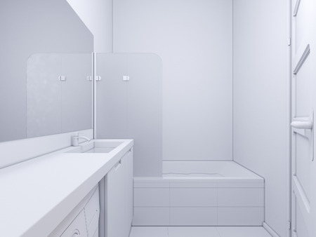 shower curtain: 3d render of interior design bathroom. The illustration shows the bedside table with a mirror in white color, under which there is a washing machine. Bath with water and glass shower curtain. In the mirror display doors in the hallway of the apartmen