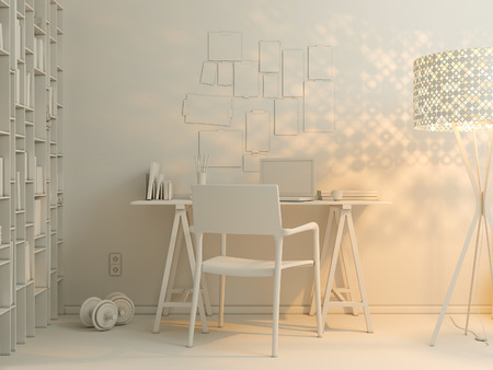 minimalist style: 3D render of interior design living in a studio apartment in a modern minimalist style. The illustration shows a corner sofa and desk with a laptop and a large floor lamp.