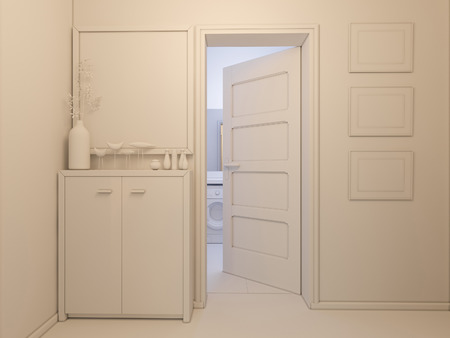 minimalist style: 3D render of interior design entrance hall in a studio apartment in a modern minimalist style. The illustration depicts an open door in the bathroom, hallway and a mirror with a bedside table