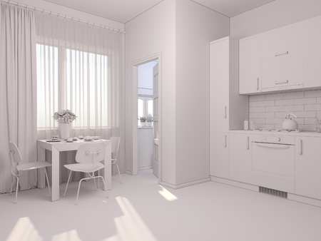kitchen studio: 3D render of interior design kitchen in a studio apartment in a modern minimalist style. The illustration shows a corner kitchen in red and wooden color fasades and table near a window
