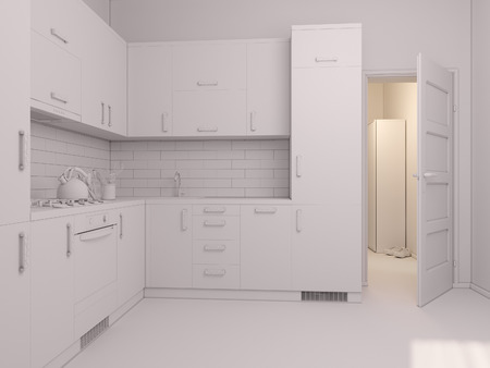 minimalist style: 3D render of interior design kitchen in a studio apartment in a modern minimalist style. The illustration shows a corner kitchen in red and wooden color fasades with open door into room Stock Photo