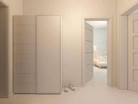 entrance hall: 3D render of interior design entrance hall in a studio apartment in a modern minimalist style. The illustration depicts an open door into the room, entrance hall with wardrobe Stock Photo
