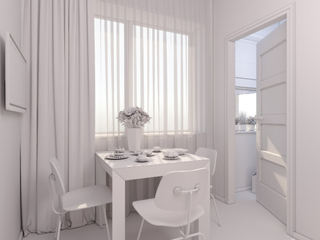 minimalist style: 3D render of interior design kitchen in a studio apartment in a modern minimalist style. The illustration shows a table near a window and a small storage room