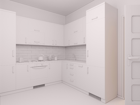 minimalist style: 3D render of interior design kitchen in a studio apartment in a modern minimalist style. The illustration shows a corner kitchen in red and wooden color fasades Stock Photo