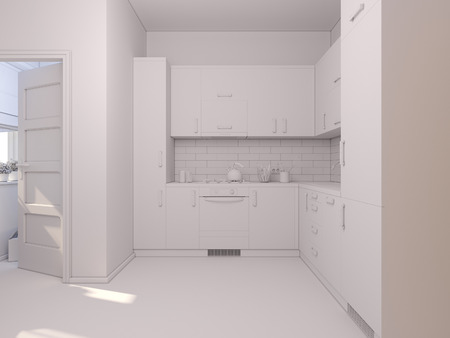 white wood: 3D render of interior design kitchen in a studio apartment in a modern minimalist style. The illustration shows a corner kitchen in red and wooden color fasades Stock Photo