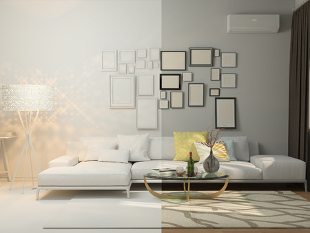 modern living room: 3D render of interior design living in a studio apartment in a modern minimalist style. The illustration shows a corner sofa and desk with a laptop and a large floor lamp.