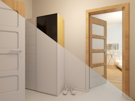 minimalist style: 3D render of interior design entrance hall in a studio apartment in a modern minimalist style. The illustration shows the open doors in the living room