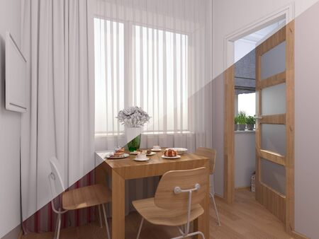 kitchen window: 3D render of interior design kitchen in a studio apartment in a modern minimalist style. The illustration shows a table near a window and a small storage room