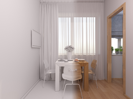 kitchen studio: 3D render of interior design kitchen in a studio apartment in a modern minimalist style. The illustration shows a table with breakfast near a window Stock Photo