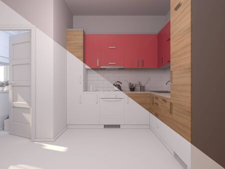 minimalist style: 3D render collage of interior design kitchen in a studio apartment in a modern minimalist style. The illustration shows a corner kitchen in red and wooden color fasades
