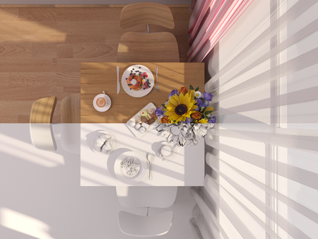 kitchen studio: 3D render collage of interior design kitchen in a studio apartment in a modern minimalist style. The illustration shows a table near a window with flowers and breakfast in top view