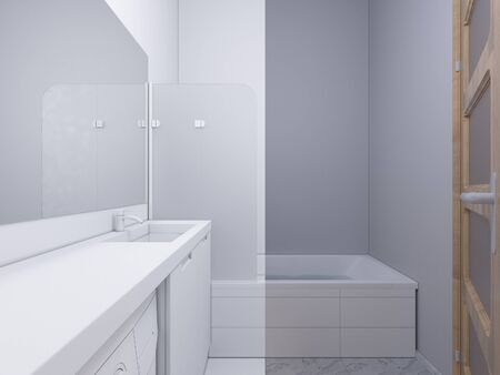 shower curtain: 3d render collage of interior design bathroom. The illustration shows the bedside table with a mirror in white color, under which there is a washing machine. Bath with water and glass shower curtain. In the mirror display doors in the hallway of the apart