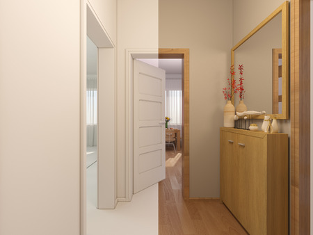 view an elegant wardrobe: 3D render collage of interior design entrance hall in a studio apartment in a modern minimalist style. The illustration shows the open doors in the living room, kitchen and hallway