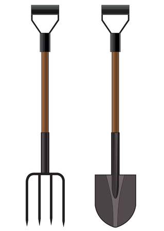 pitchfork: Vector illustration of a garden pitchfork and shovel