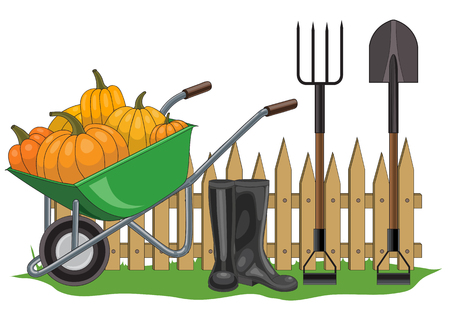 pitchfork: Vector illustration of the composition of the garden fence, wheelbarrow with yellow pumpkins, pitchfork, shovel and boots Illustration