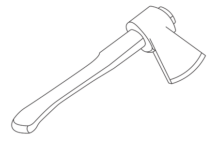 contours: Vector art illustration contours of the image Axe with a wooden handle
