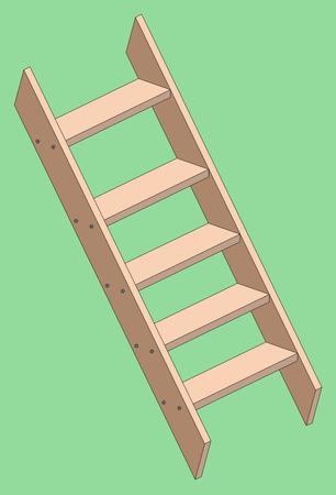stepladder: Vector illustration of a wooden a stepladder on green background.