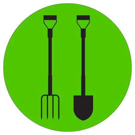 pitchfork: Vector illustration of a silhouette garden pitchfork and shovel