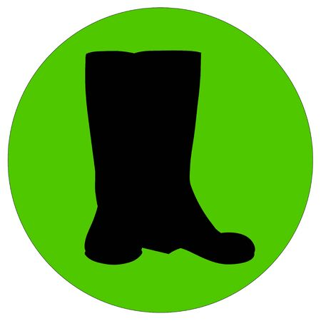 rubber boots: Vector illustration of black rubber boots silhouette for the garden Illustration