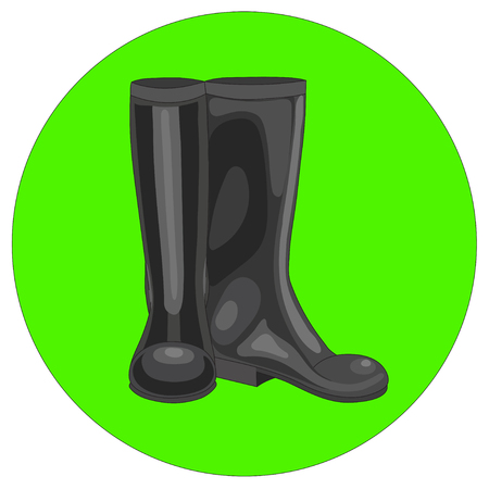 Vector illustration of black rubber boots for the garden