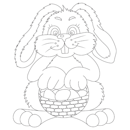 bast: vector illustration contour Easter bunny with bast basket of colored eggs Illustration