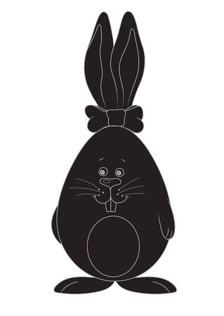 egg shaped: Vector illustration silhouette Easter bunny in an egg shape