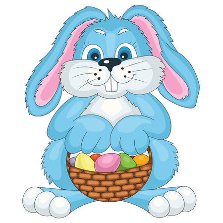 bast basket: vector illustration Easter bunny with bast basket of colored eggs