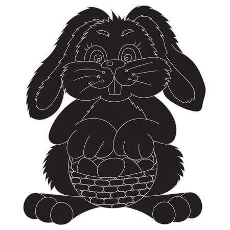 bast basket: vector illustration silhouette Easter bunny with bast basket of colored eggs