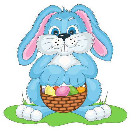 gift basket: vector illustration Easter bunny with bast basket of colored eggs