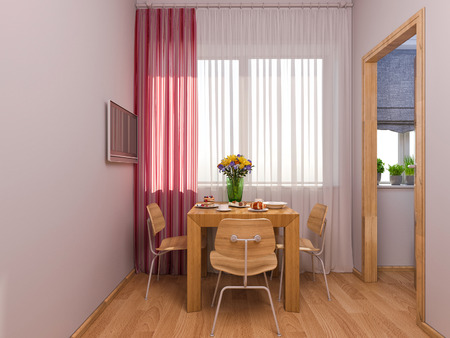 storage room: 3D render of interior design kitchen in a studio apartment in a modern minimalist style. The illustration shows a table near a window and a small storage room. Stock Photo