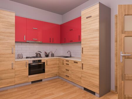 kitchen studio: 3D render of interior design kitchen in a studio apartment in a modern minimalist style. The illustration shows a corner kitchen in red and wooden color fasades and open door.