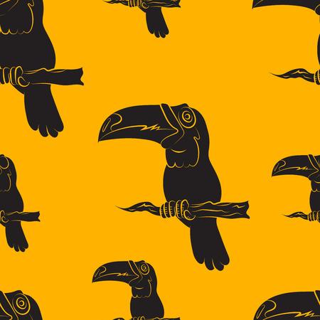 beautify: illustration of a seamless pattern of toucan birds on orange background Illustration