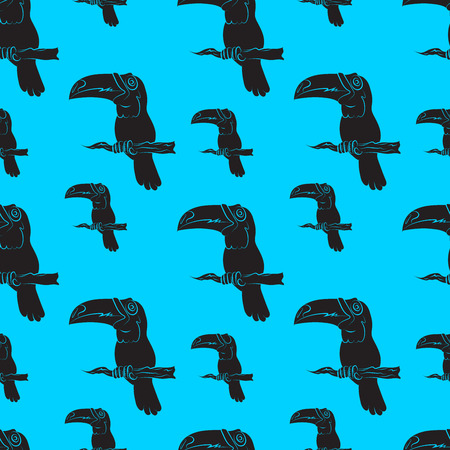 beautify: illustration of a seamless pattern of toucan birds on blue background Illustration