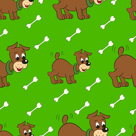 cute puppy: Vector illustration of a seamless pattern of cute puppy with bone on green background