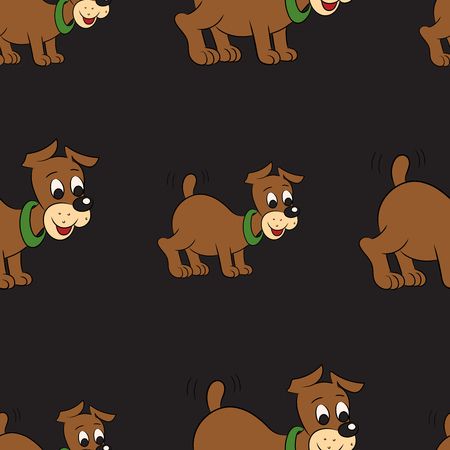 cute puppy: Vector illustration of a seamless pattern of cute puppy on black background