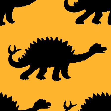 stegosaurus: ilustración vectorial de un patrón que se repite sin fisuras de los dinosaurios Stegosaurus. La textura de la tela de la ropa del bebé