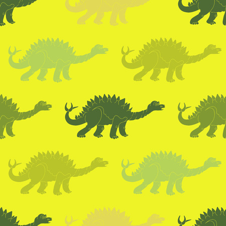stegosaurus: Vector illustration of a seamless repeating pattern of dinosaur Stegosaurus. The texture of the fabric for baby clothes