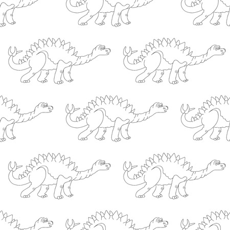 triceratops: Vector illustration of a seamless repeating pattern of dinosaur Stegosaurus. The texture of the fabric for baby clothes