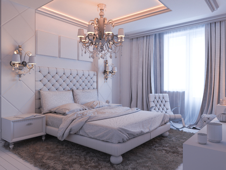 decor: 3d illustration of bedroom interior design in a modern classic style. Bedroom displayed in the polygon mesh. Stock Photo