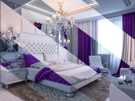 carpet and flooring: 3d illustration of bedroom interior design in a modern classic style. Bedroom displayed in the polygon mesh. Stock Photo