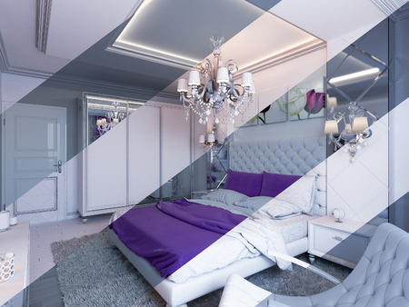 duvet: 3d illustration of bedroom interior design in a modern classic style. Bedroom displayed in the polygon mesh. Stock Photo