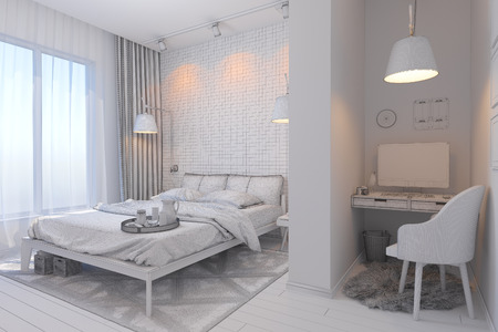 carpet and flooring: 3d illustration of bedroom interior design in a contemporary style. Bedroom displayed in the polygon mesh without textures
