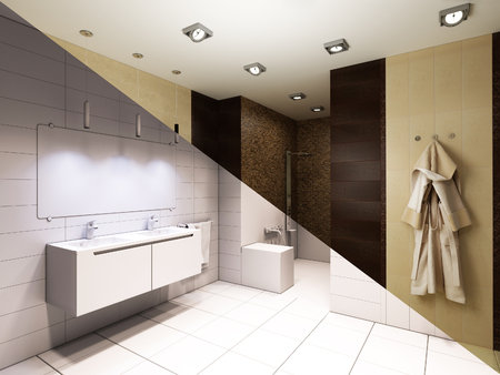 white bathroom: 3d illustration of interior design of a bathroom with shower. The composition of the picture bathroom in color and without texture Stock Photo