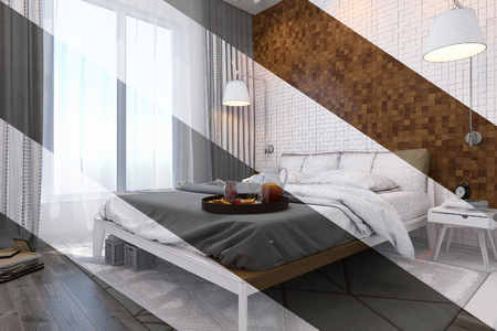 mesh: 3d illustration of bedroom interior design in a contemporary style. Bedroom displayed in the polygon mesh without textures